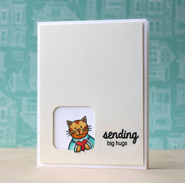 Sunny Studio Stamps:  Sending My Love & Big Hugs Kitty Cat Card by Laura Bassen.