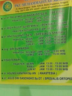 Jadwal Dokter RS PKU Muhammadiyah Sragen
