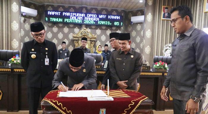 DPRD Waykanan Gelar Sidang Paripurna Penyerahan Empat Raperda