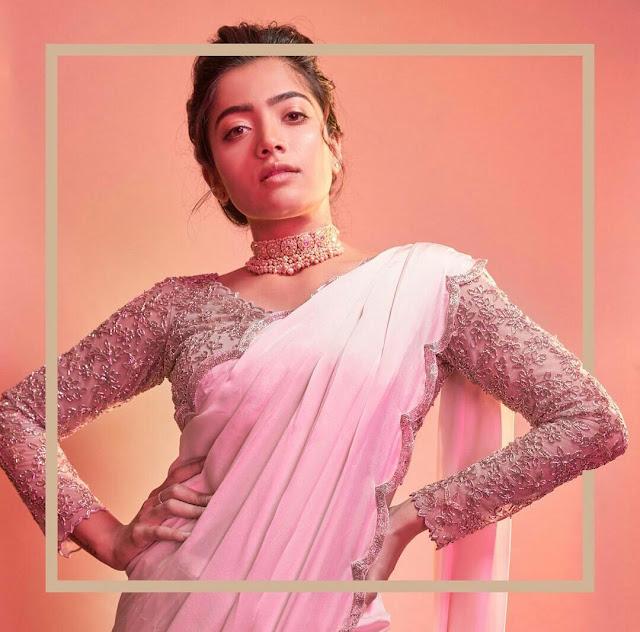 Rashmika Mandanna HD Wallpaper Pink Saree