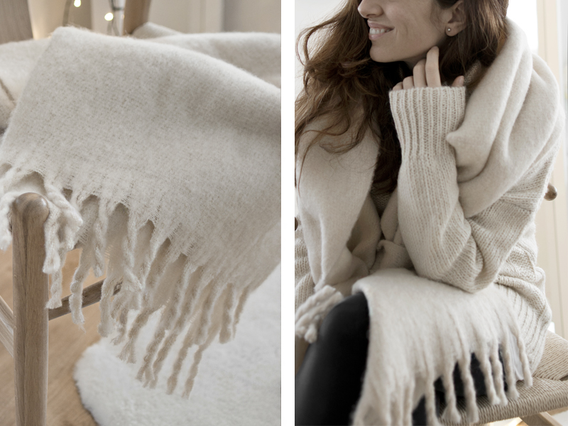 JERSEY & BUFANDA BEIGE OVERSIZE + CONTORNO DE OJOS VEGETAL / Oversize beige sweater and scarf + eye contour