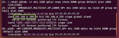 Hasil adb shell ip addr show