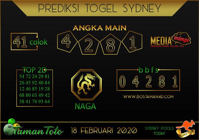 Prediksi Togel SYDNEY TAMAN TOTO 18 FEBRUARY 2020