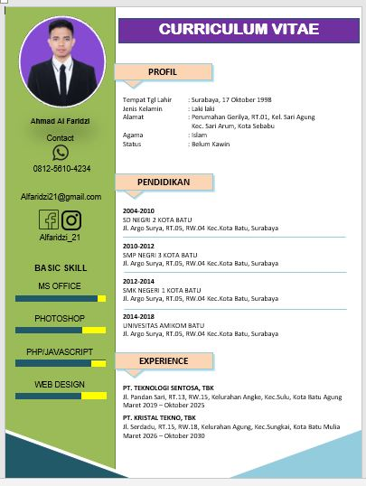 Download CV MS Word tinggal Edit