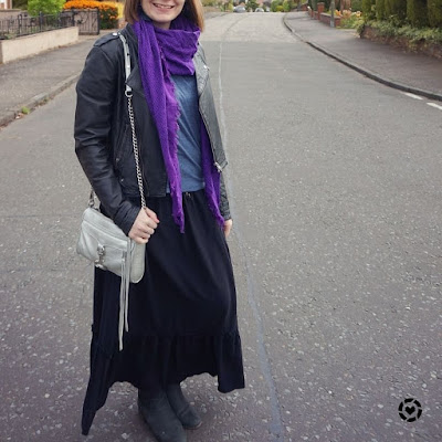 awayfromtheblue instagram | wrap top, maxi skirt scarf leather jacket ankle boots and mini MAc bag layered up for winter