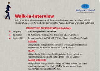 Biological E. Limited Recruitment 2021   ITI, Diploma, B.Sc, M.Sc, M. Pharmacy, B. Pharmacy Candidates   Walk-in-Interview