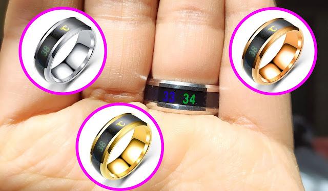 خاتم من التيتانيوم يقيس درجة الحرارة - Temperature Ring Titanium Mood Sensitive Rings