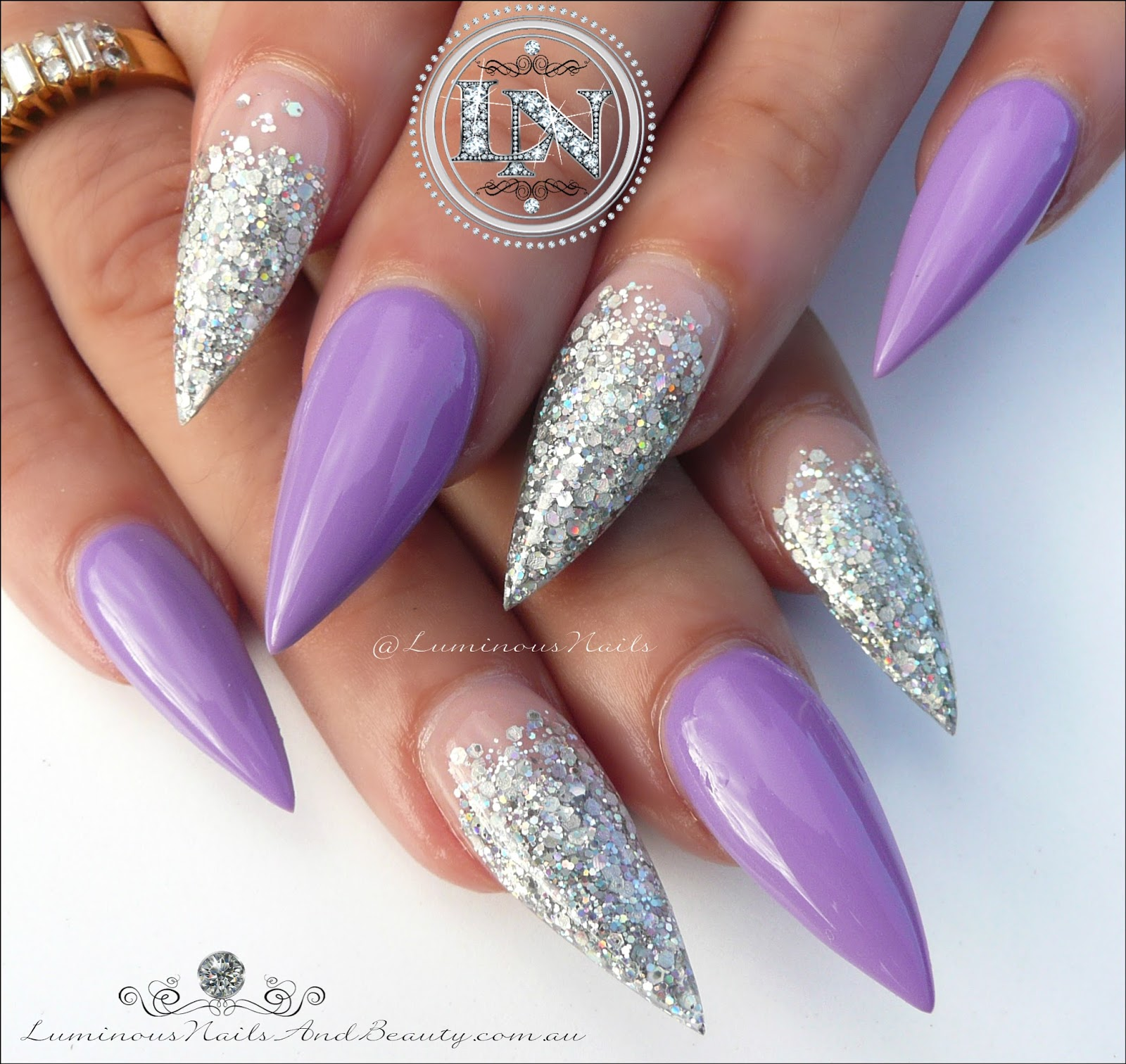 Stunning Purple Silver Sculptured Acrylic Stiletto Nails