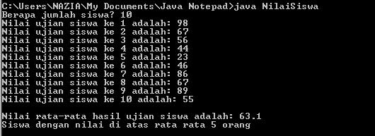 Contoh Pemecahan Masalah Dengan Array Pada Java