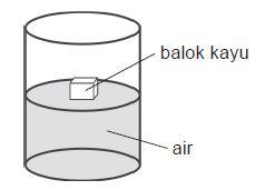 Kayu mengapung karena gaya ke atas kayu lebih besar dari berat kayu.