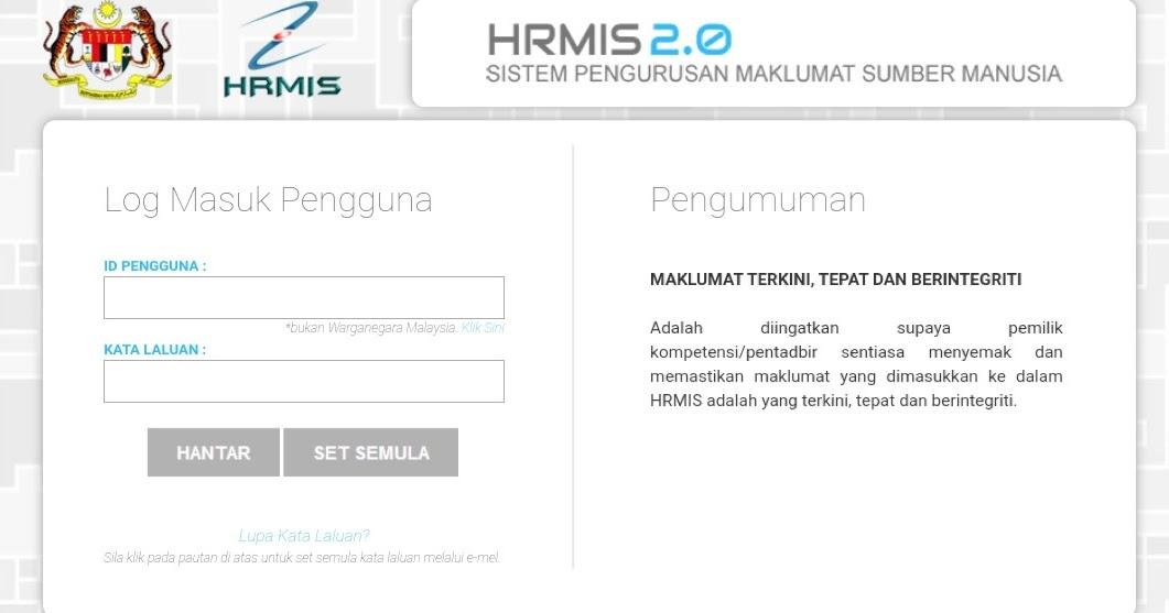 Login Hrmis 2 0 Online Sistem Pengurusan Maklumat Penjawat Awam Spa