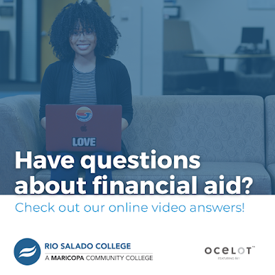 "graphic shows a woman on a laptop smiling. Words over the graphic reed, ""Have questions about financial aid?"""