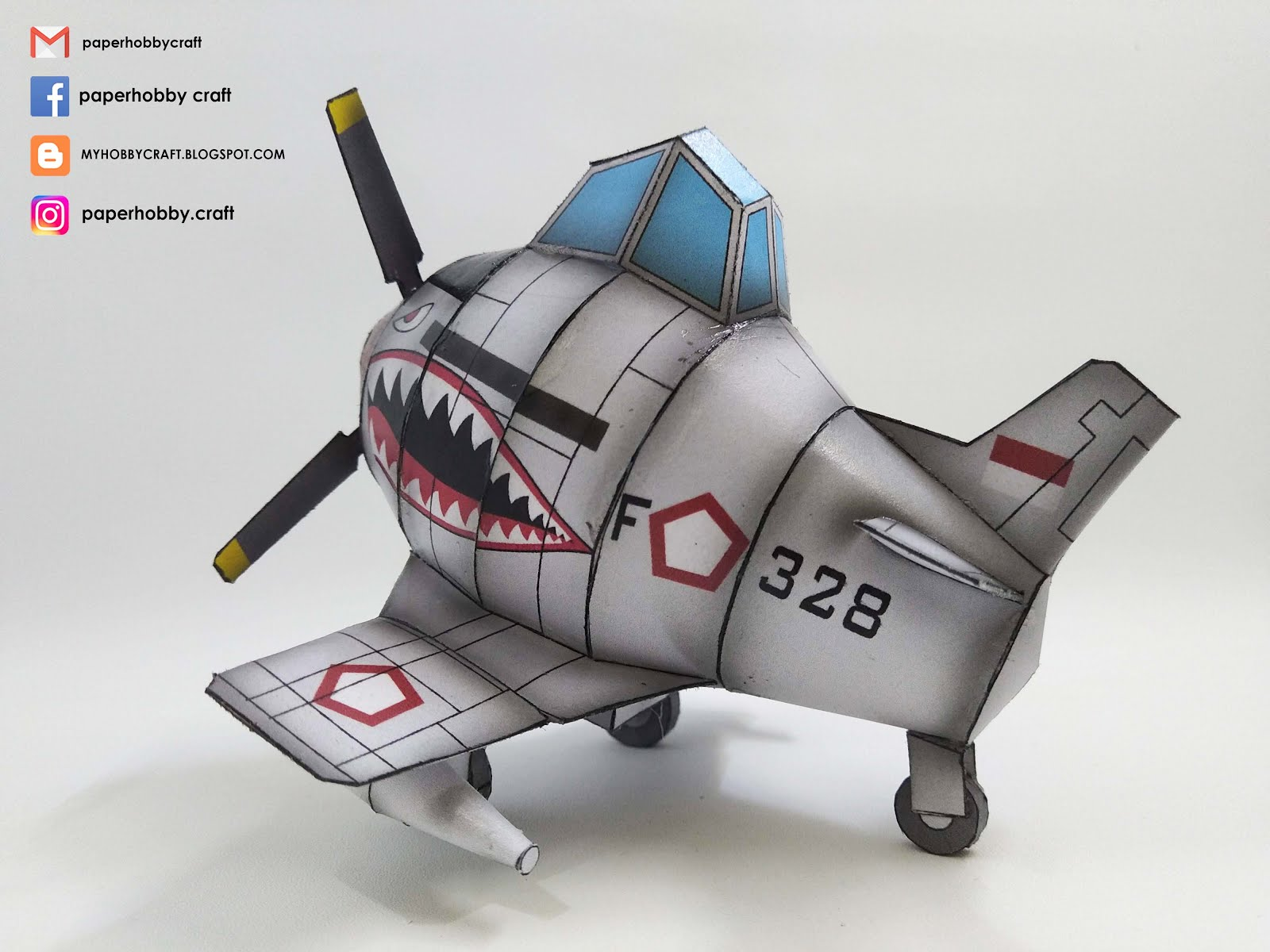 "P-51 D ""MUSTANG"" INDONESIAN AIR FORCE- TOON SCALE PAPERMODEL"