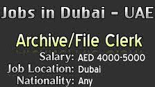File Clerk Jobs Requirement in Advertising Company Dubai