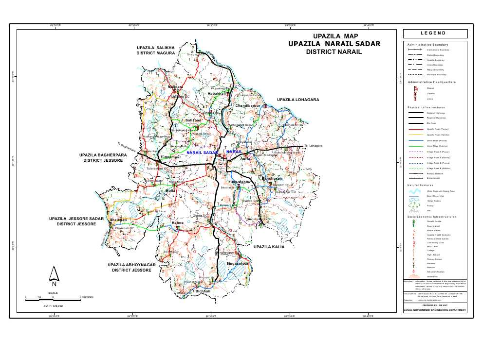 Narail Sadar Upazila Map Narail District Bangladesh
