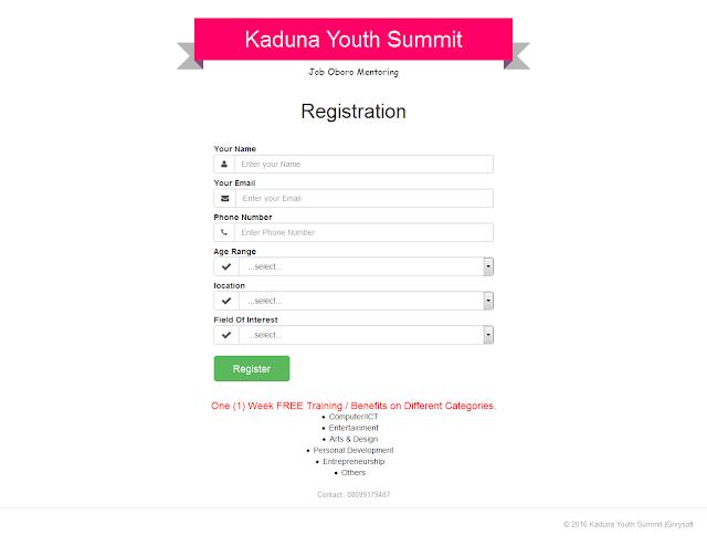 OPPORTUNITY: DON'T MISS KADUNA YOUTH SUMMIT 2016