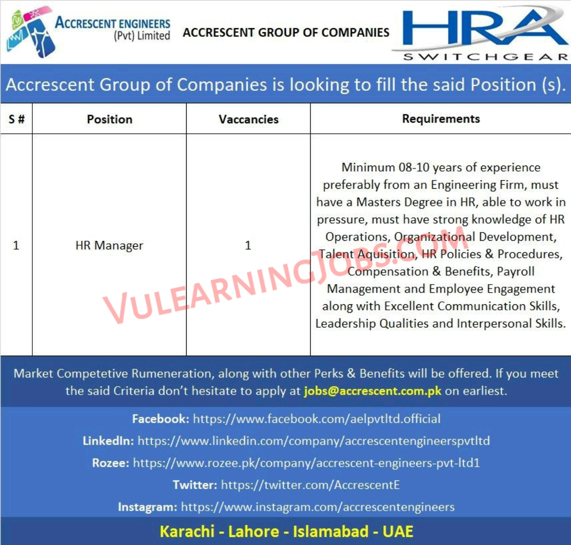 Accrescent Group of Companies Jobs September 2021 For HR Manager Latest