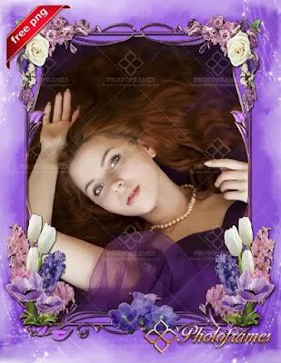 Marco para fotos al estilo floral de color purpura