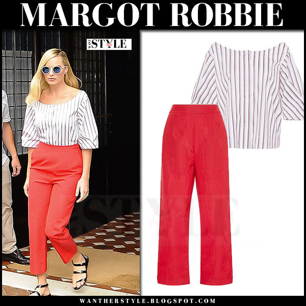 Margot Robbie in red cropped pants and white striped blouse isa arfen what she wore street style