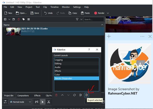 export layout kdenlive