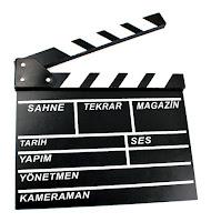 Üzerinde Türkçe sinema terimleri olan klaket