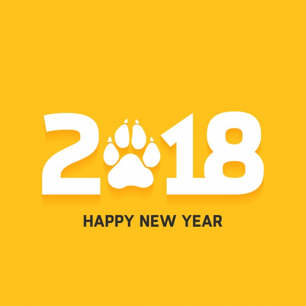 Happy new year 2018 text design Free Vector