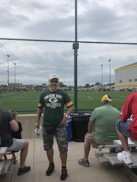 Ich beim Training der Green Bay Packers in Lambeau Field, Green Bay