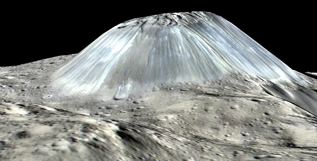 Ahuna Mons seen in a simulated perspective view. The elevation has been exaggerated by a factor of two. The view was made using enhanced-color images from NASA's Dawn mission. Credit: NASA