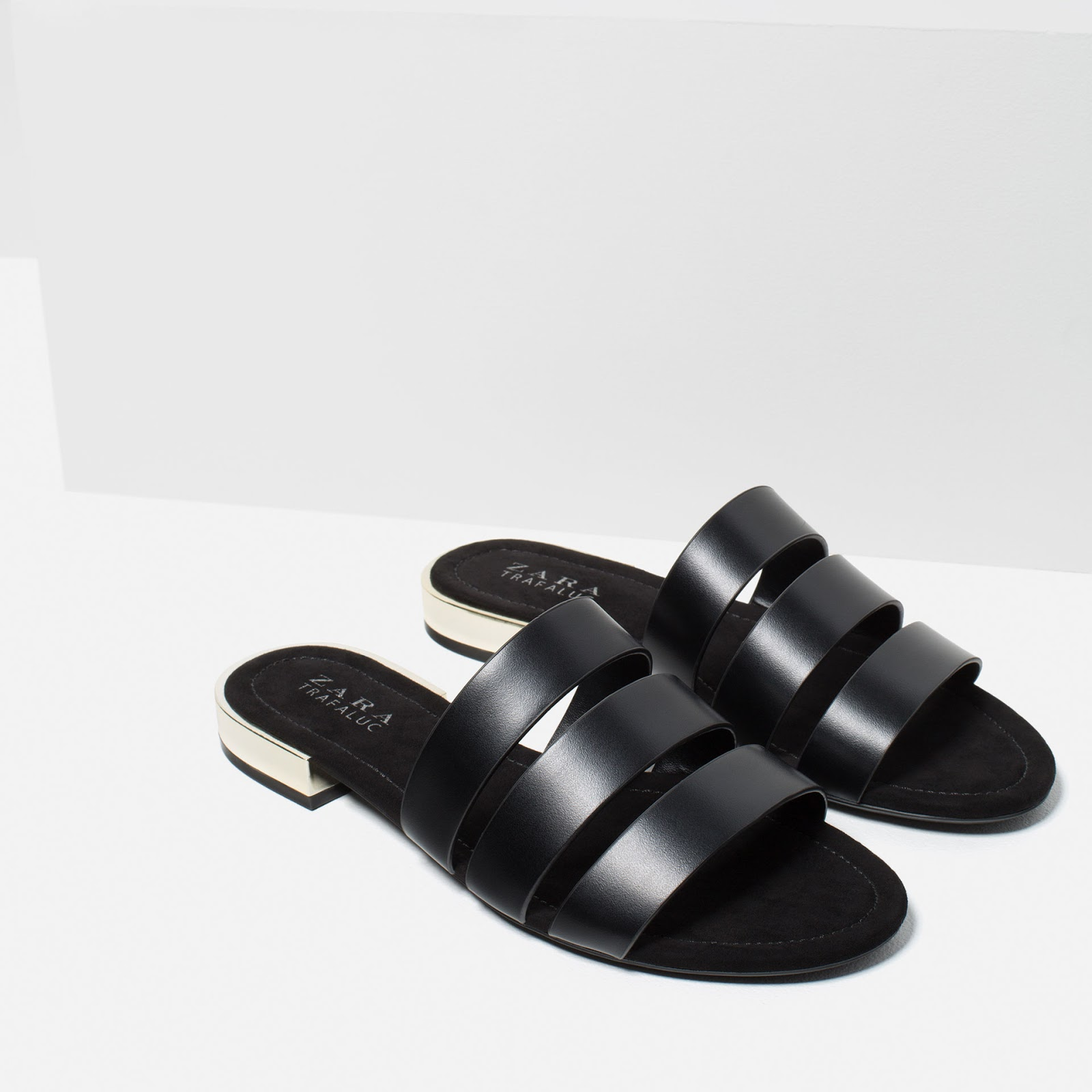 Black sandals from Zara with metal heel