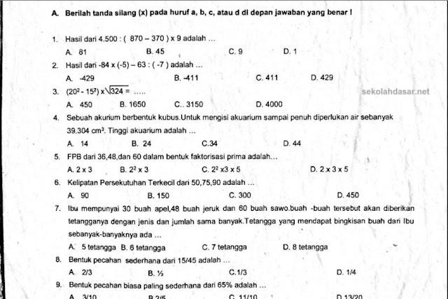 Soal UAS Matematika Kurikulum 2013 Kelas 6 dan Kunci Jawabannya