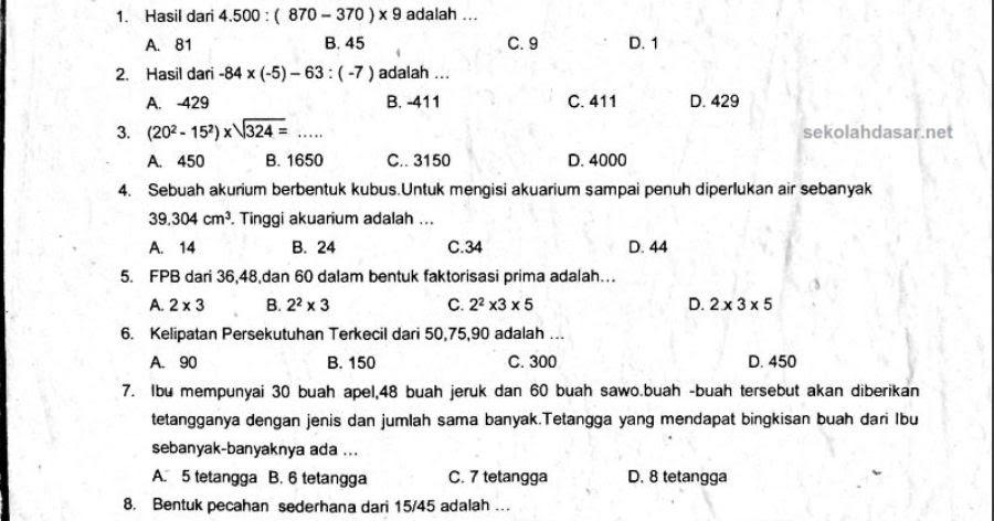 Soal Uas Matematika Kelas 6 K 13 Dan Kunci Jawabannya Sekolahdasar Net