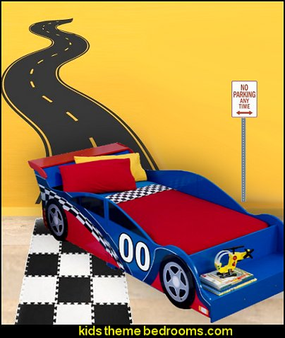 Road Track Wall Decal Car theme beds
