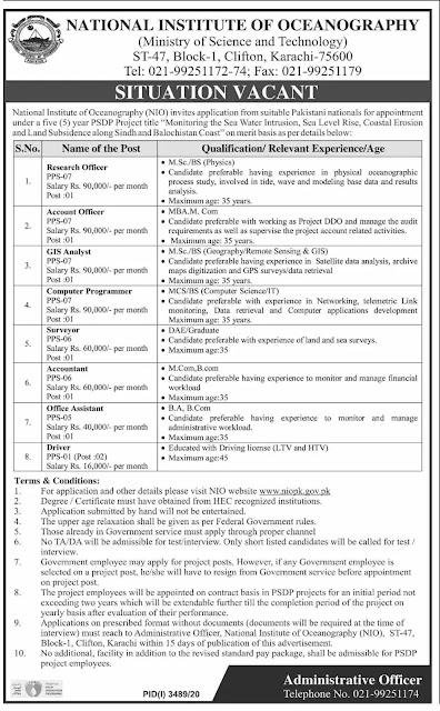National Institute of Oceanography Pakistan Jobs 2021
