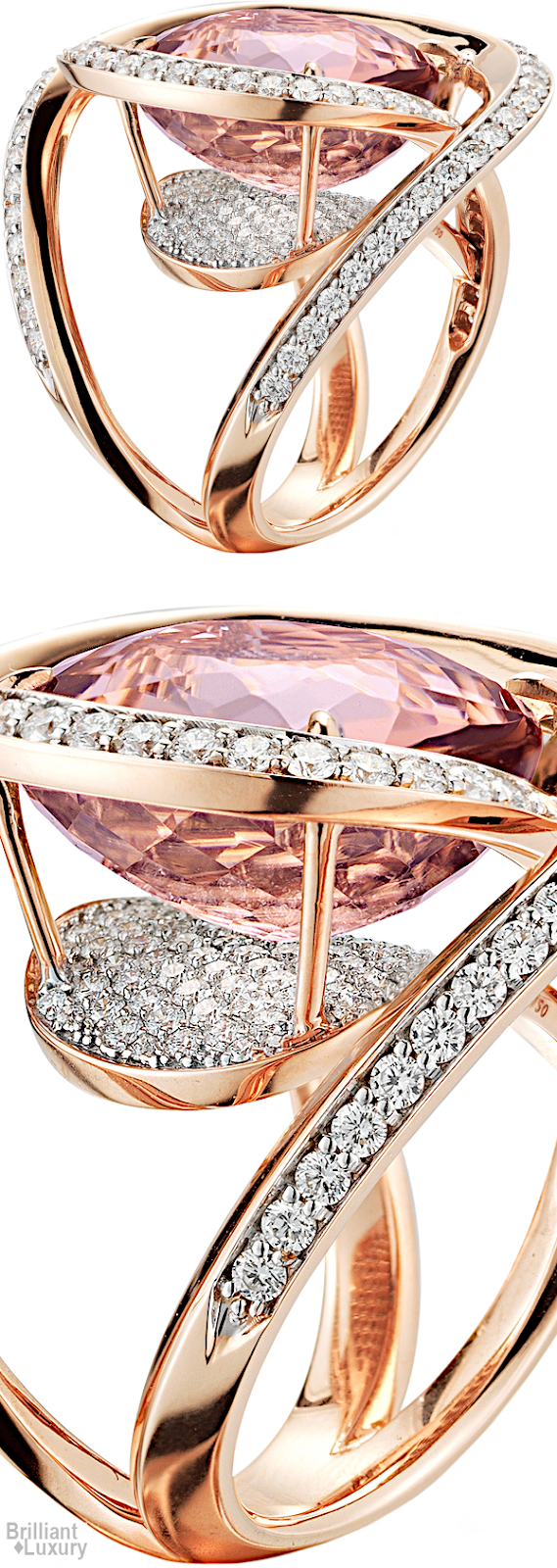 Brilliant Luxury♦Paolo Costagli Tourmaline Ring With Diamonds Set In 18ct Rose Gold
