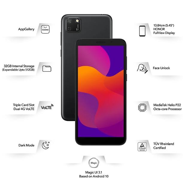 Most affordable smartphone Honor 9s मीडियाटेक हेलिओ p22 प्रोसेसर के साथ ऑनलाइन बिक्री 6 अगस्त से।