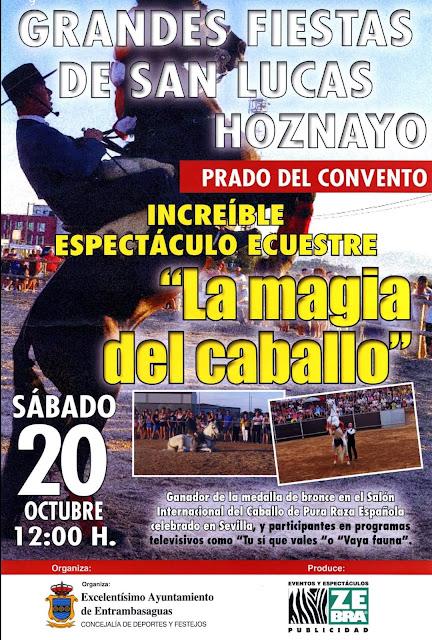 """Espectáculo ecuestre """"La magia del caballo"""" en Hoznayo. Fiestas de San Lucas 2018"""