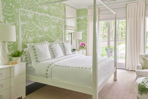 Loving the bright, fresh bedrooms in the Coastal Living Showhouse by Meg Braff. Check out more of Meg's designs and new wallpaper and fabric here.