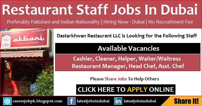 Restaurant Jobs in Dubai for Pakistani and Indian