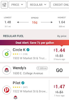 Android screenshot of the locational gas offers screen in GasBuddy