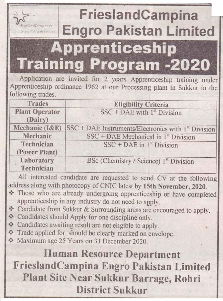 Engro Pakistan FrieslandCompina Apprenticeship Training Program 2020