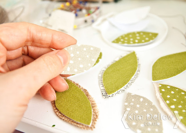 Making tree leaves from the Rayna Apple fabric
