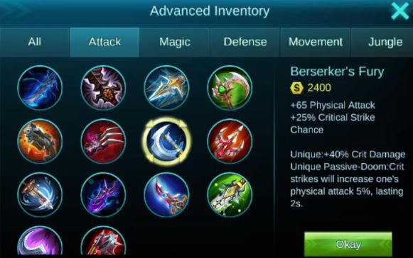 Anda akan mengetahui item untuk meningkatkan physical attack pendekar mobile legends Equipment Untuk Physical Attack Hero Mobile Legends Agar Lebih GG