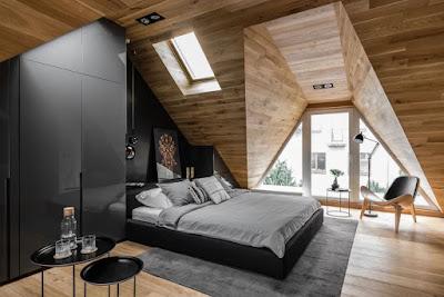 Amazing bedroom design in attic