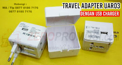 Universal Travel Adaptor Kotak with USB Charger UAR03, Universal Travel Adapter Promosi UAR03 Travel Adaptor UAR03, UNIVERSAL TRAVEL ADAPTER W/ USB MODULE, Konverter Travel murah