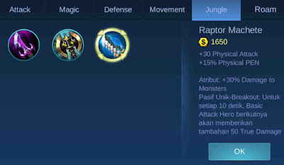 Raptor Machete Item jungle Mobile legends