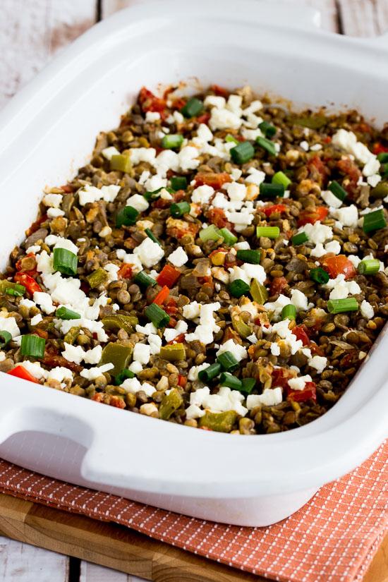 Slow Cooker (or oven) Vegetarian Greek Lentil Casserole found on KalynsKitchen.com