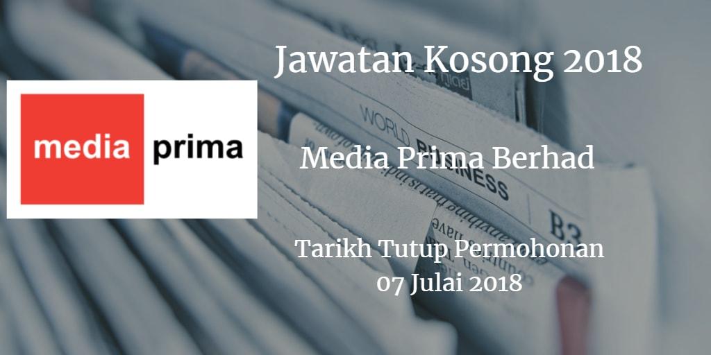 Jawatan Kosong Media Prima Berhad 07 Julai 2018
