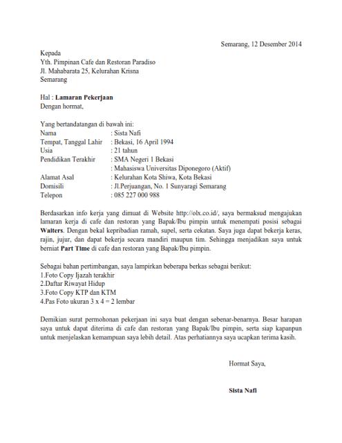 contoh surat lamaran kerja di hotel bagian waiter
