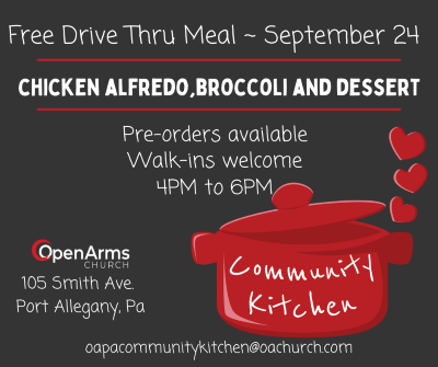 9-24 Free Drive Thru Meal At The Open Arms Church