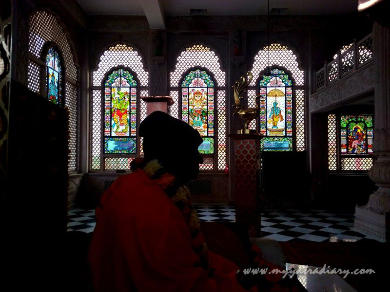 Window to the spiritual world stained glass vedic art gallery - ISKCON Jaipur, Rajasthan